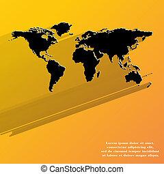 världen kartlägger, ikon, nät formge, lägenhet