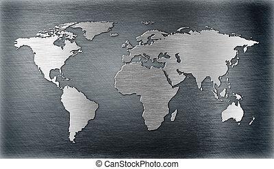världen kartlägger, lättnad, eller, form, på, metall tallrik