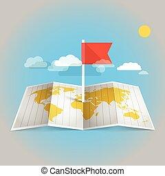 världen kartlägger, med, röd, flag., formge grundämnen