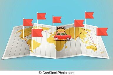världen kartlägger, med, röd flagga, och, vehicle., formge grundämnen