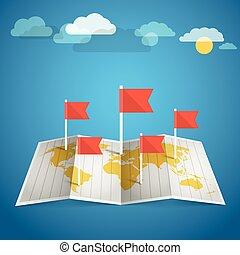 världen kartlägger, med, röd, flags., formge grundämnen