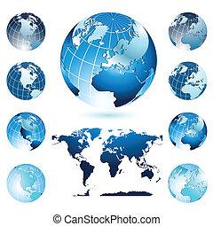 världen kartlägger, och, glober