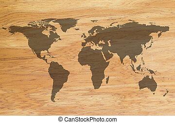 världen kartlägger, på, trä struktur, bakgrund