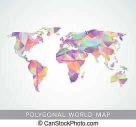 världen kartlägger, polygonal