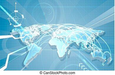 världshandel, globalisering, kartlagt fond