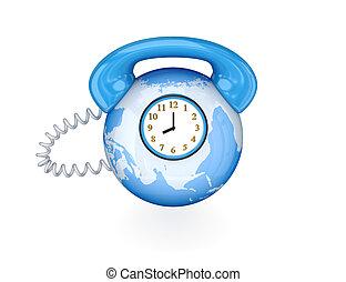 världsomfattande, anslutning, concept., telefon