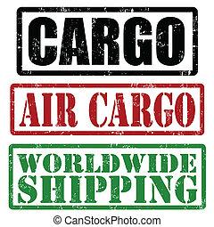 världsomfattande, frakt, frakt, skeppning, luft, frimärken