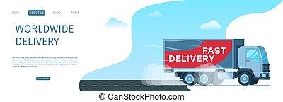 världsomfattande, frakt, lagring, leverans transportera, väg
