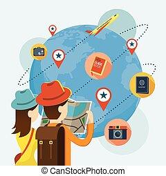 världsomfattande, karta, turist, par, plan, läsning, resa