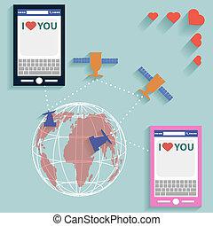 världsomfattande, lägenhet, stil, sms, valentinbrev, vektor