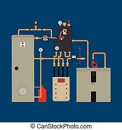 värma, pump, uppvärmning system