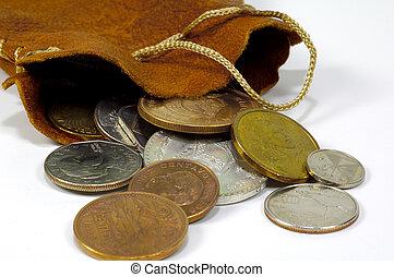 väska av, mynter, 2