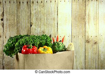 väska av, specerier, producera, artikeln, på, a, trä planka
