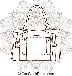 väska, bakgrund, prydnad