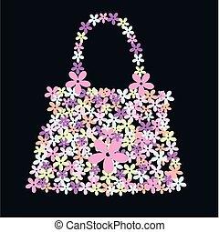 väska, blomma