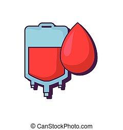 väska, donation, droppe, blod