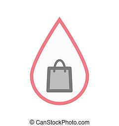 väska, droppe, inköp, isolerat, blod