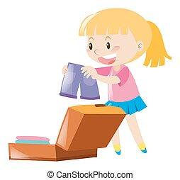 väska, flicka, emballage, lycklig