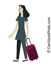 väska, flicka, resa