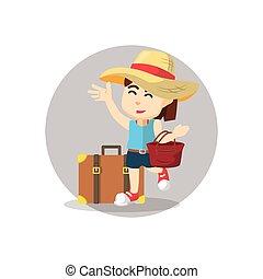 väska, flicka, resande, hand