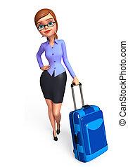 väska, flicka, resande, kontor