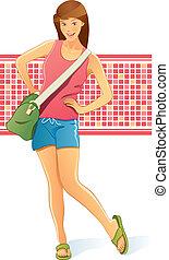 väska, flicka, resande