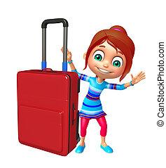 väska, flicka, resande, unge