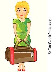 väska, flicka, väg