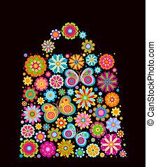 väska, form, blomningen