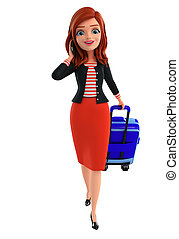 väska, gemensam, dam, ung, resande
