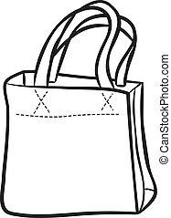 väska, inköp, klotter