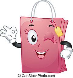 väska, inköp, maskot