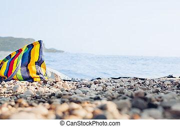 väska, lysande, strand., strand, kiselsten