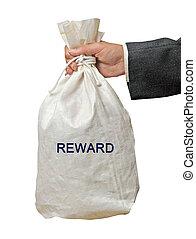 väska, med, belöna