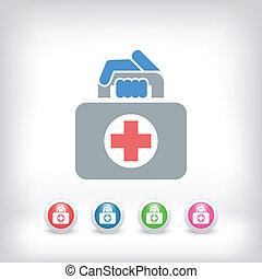 väska, medicinsk, ikon