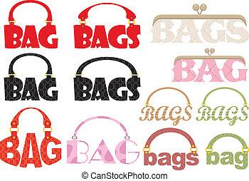 väska, ord, logoty, bilda
