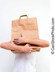 väska, papper,  man, räcker