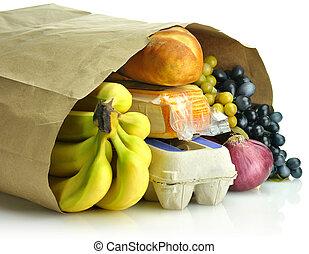 väska, papper, specerier