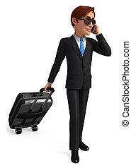 väska, resande, affär