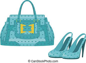 väska, skor, kvinnlig