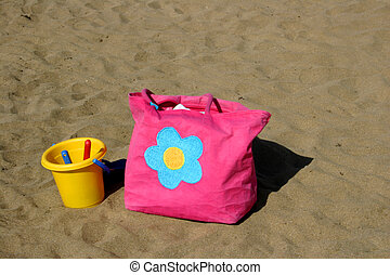 väska, strand, hink