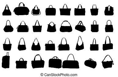 väska, vektor, silhuett, illustration