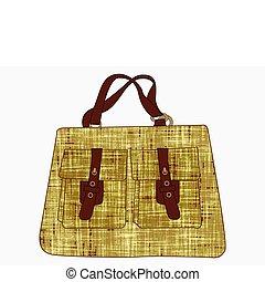 väska, vit, strukturerad, mot, hand