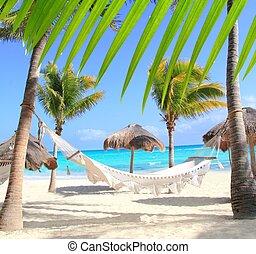 västindisk strand, hängmatta, och, palmträdar