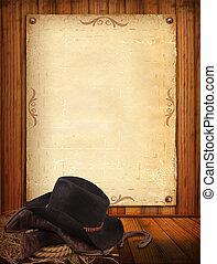 västra, bakgrund, med, cowboy, kläder, och, gammal, papper,...