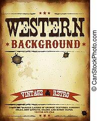 västra, grunge, affisch