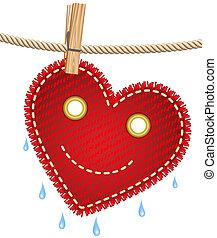 vävnad, hjärta, klädstreck, röd