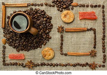 vävnad, kaffe, gjord, ram, säck, traditionell, bönor