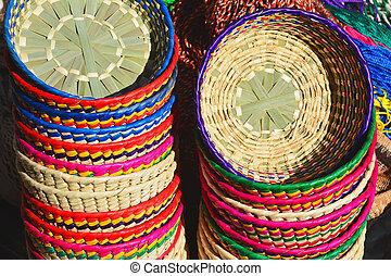 vävt, mexikanare, färgrik, korgar, hand