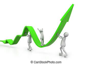 växande, affär, graf, med, folk